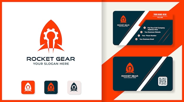 Design del logo e biglietto da visita dell'ingranaggio del razzo