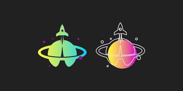 Elemento di vettore del pianeta dello spazio di progettazione dell'illustrazione del razzo