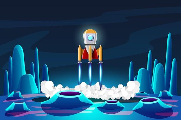 Un razzo è atterrato su un pianeta nel programma di esplorazione spaziale umana sulla terra.
