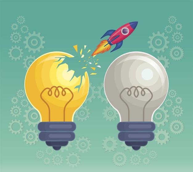 Pausa del lancio del razzo sul simbolo della lampadina dell'idea illustrazione vettoriale della lampadina accesa e spenta