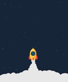 Lancio del razzo concetto di business. concetto di lancio di avvio di attività di design piatto, icona del razzo. banner di avvio aziendale razzo volante con fiamme e nuvole