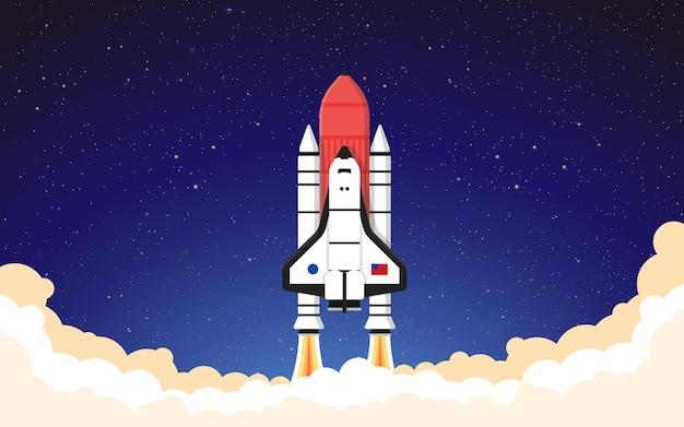 Lancio di un razzo dark sky space ship decollo illustrazione sfondo vettore di sfondo