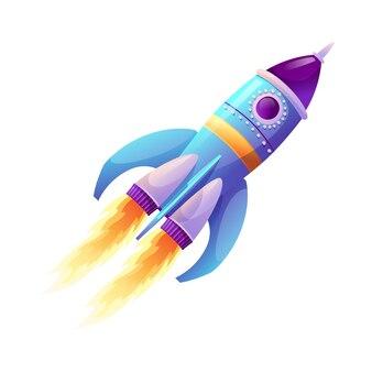 Lancio di razzi e avvio di astronavi con fiamma di fuoco