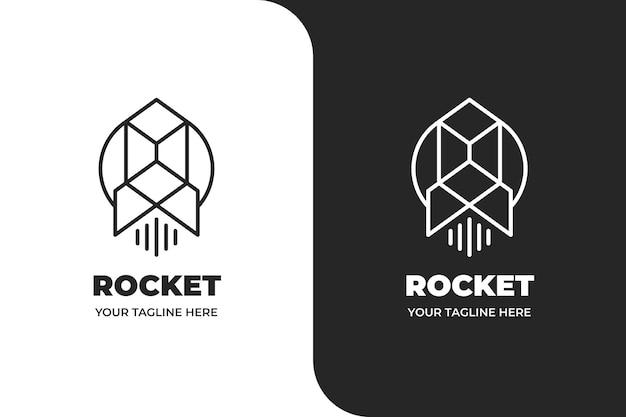 Logo monolinea di lancio del razzo