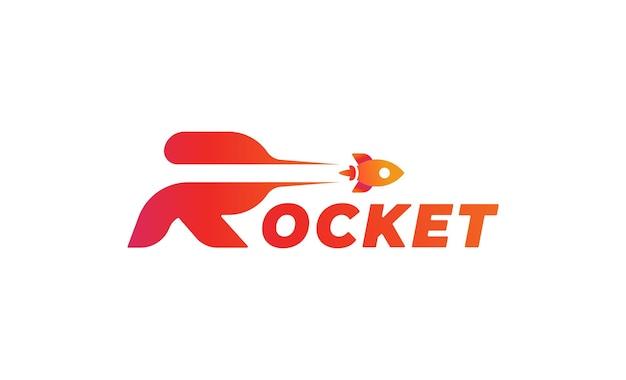 Rocket launch r type logo vector design illustration