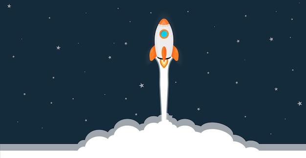 Lancio di un razzo, nave. concetto di prodotto aziendale su un mercato. concetto di progetto di avvio. illustrazione vettoriale design piatto.