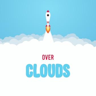 Lancio di un razzo nel cielo sopra le nuvole.