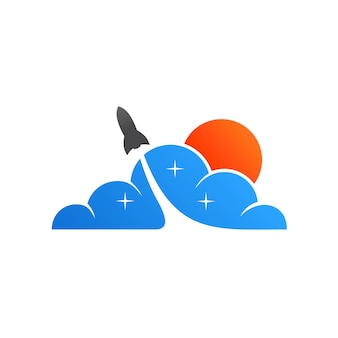 Rocket launch to sky logo