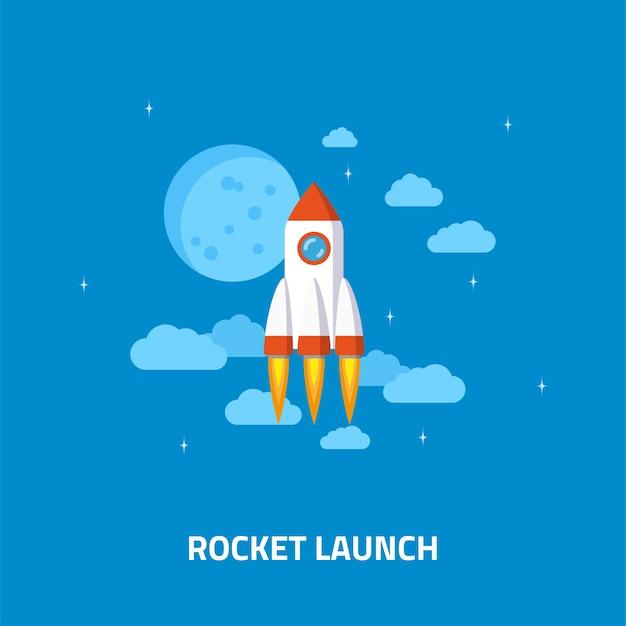Lancio di un razzo, astronave. concetto di stile piatto di avvio aziendale.