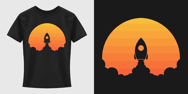 Design della maglietta del lancio del razzo