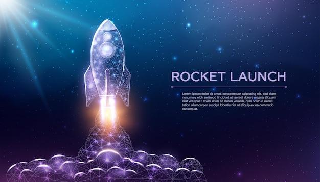 Lancio di razzi, stile poligonale wireframe. rete tecnologica internet, concetto di avvio aziendale con razzo basso incandescente. fondo astratto moderno futuristico. illustrazione vettoriale.