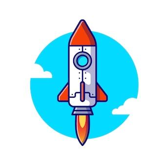 Illustrazione dell'icona del fumetto di lancio del razzo. concetto dell'icona del trasporto aereo