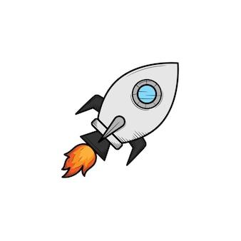 Illustrazione disegnata a mano dell'icona di lancio del razzo isolata