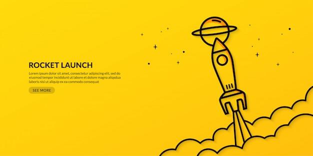 Lancio di un razzo nello spazio business start up banner