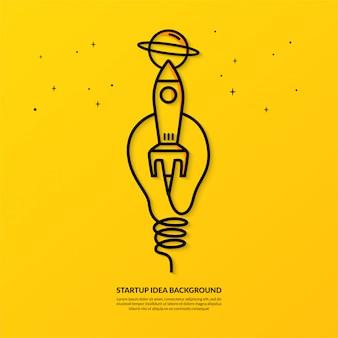 Lancio di un razzo con banner a lampadina, idea di avvio piatta