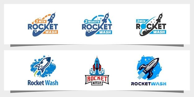 Vettore di progettazione del logo della lavanderia del razzo vettore premium
