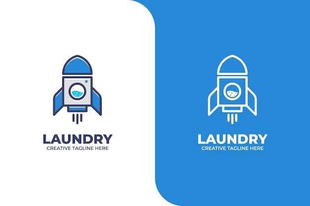 Logo aziendale di lavaggio lavanderia rocket