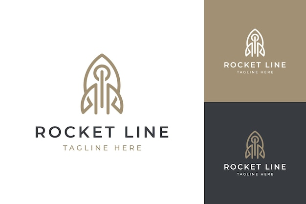 Rocket line moderno logo design