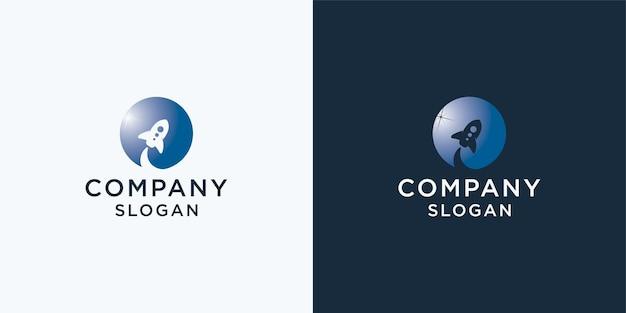 Logo del razzo per avvio aziendale e biglietto da visita