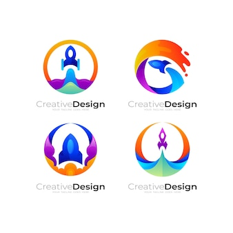 Logo a razzo e combinazione di design del cerchio