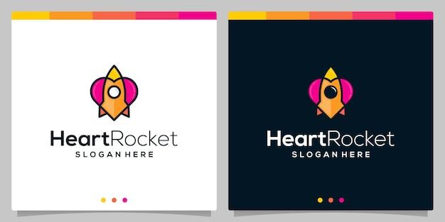 Modello di vettore dell'icona del logo del razzo e icona del logo del cuore colorato