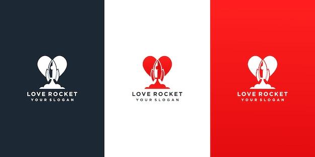 Modello di progettazione di logo di amore di razzo