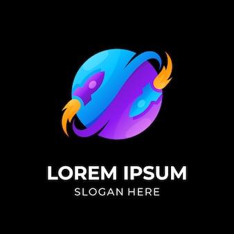 Concetto di design del logo del razzo e del pianeta con stile colorato 3d