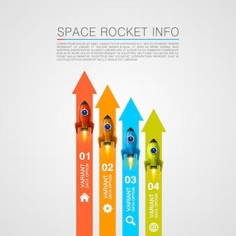 Copertina grafica delle informazioni sulle corse di razzi. illustrazione vettoriale