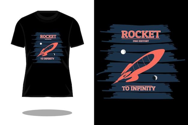 Design della maglietta vintage retrò del razzo