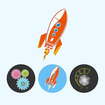 Razzo . set da 3 icone rotonde colorate, ingranaggi, razzo, controllo del volume, icona del controllo della potenza, illustrazione vettoriale