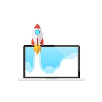 La nave del razzo sta volando in su e processo di sviluppo con il concetto del computer portatile