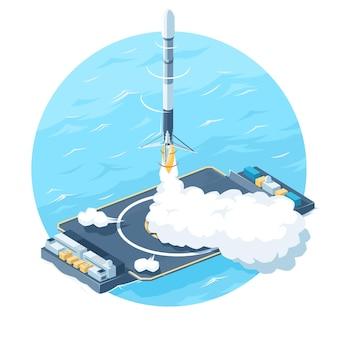 Razzo che decolla dalla piattaforma. atterraggio di razzi in mare.