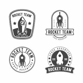 Modello di progettazione logo distintivo di razzo vintage