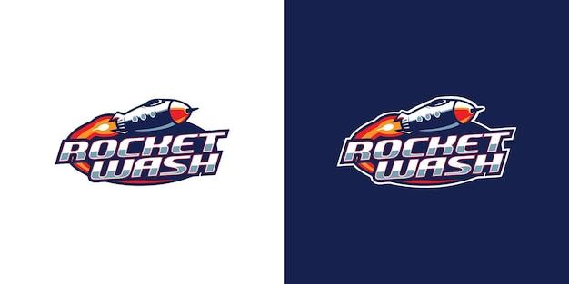Modello di progettazione del logo del lavaggio del razzo