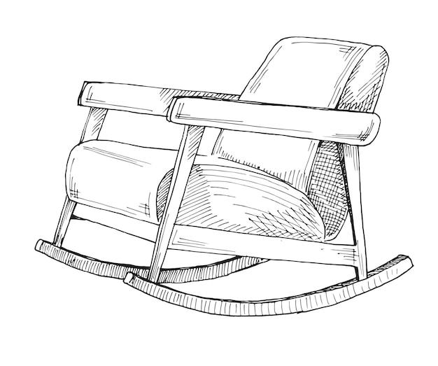 Sedia a dondolo isolato su sfondo bianco. disegna una sedia comoda. .