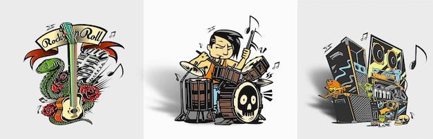 Illustrazione vettoriale di rockstar boy che suona il tamburo tshirt design