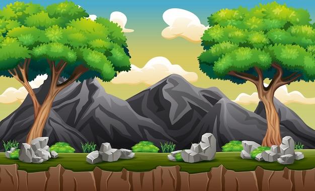 Un panorama di montagna rocciosa con alberi