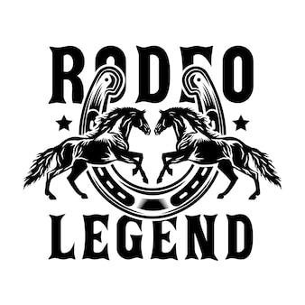 Cavalli da cowboy rodeo con ferro di cavallo