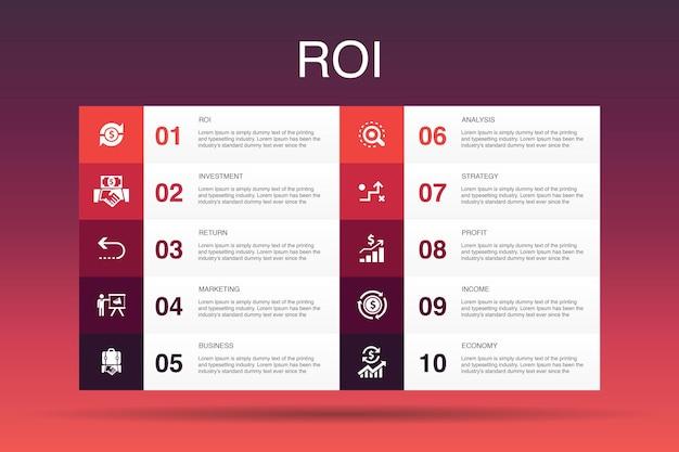 Modello di opzione roi infografica 10. investimento, ritorno, marketing, analisi semplici icone