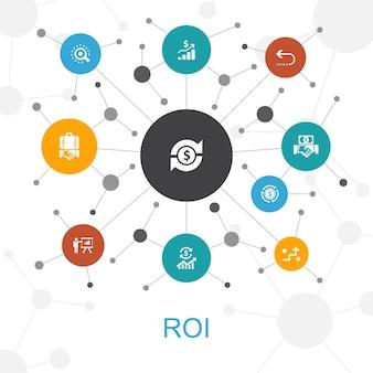 Concetto di web alla moda roi con icone. contiene icone come investimento, ritorno, marketing, analisi