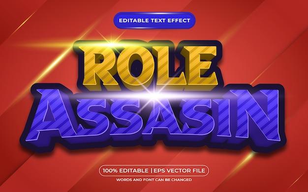 Ruolo assassino 3d effetto testo modificabile in stile cartone animato e gioco