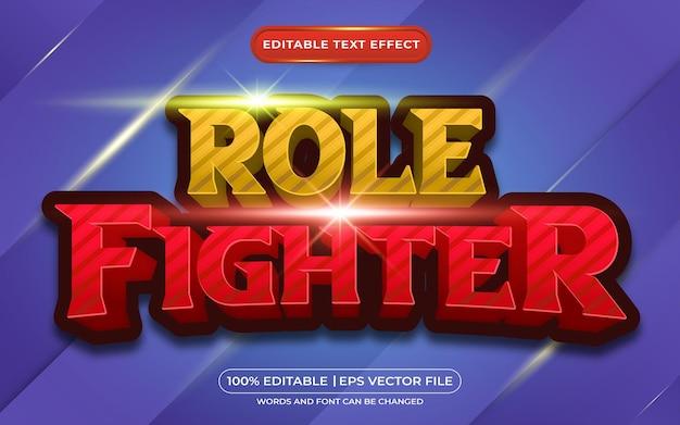 Combattente di ruolo 3d effetto testo modificabile in stile cartone animato e gioco