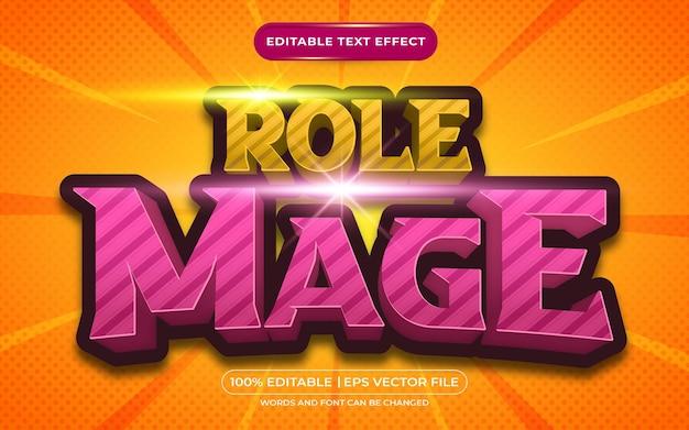 Stile di gioco con effetto di testo modificabile 3d mago di ruolo