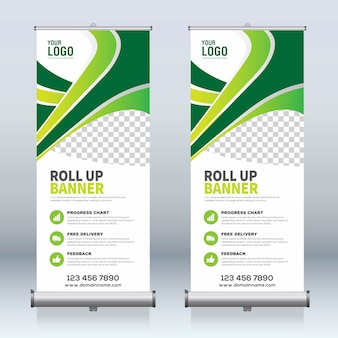 Arrotolare banner, tirare su banner, x-banner, moderno modello di progettazione nuovo vettore verticale
