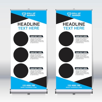 Roll up banner, pull up banner, x-banner, moderno modello di disegno vettoriale verticale nuovo