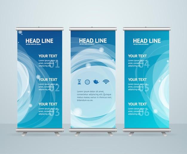 Roll up banner stand design con onda blu astratta.