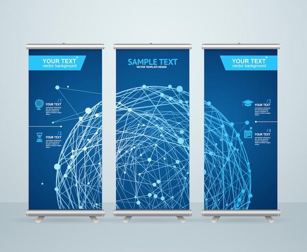 Roll up banner stand design con sfera incandescente astratta. concetto scientifico. Vettore Premium