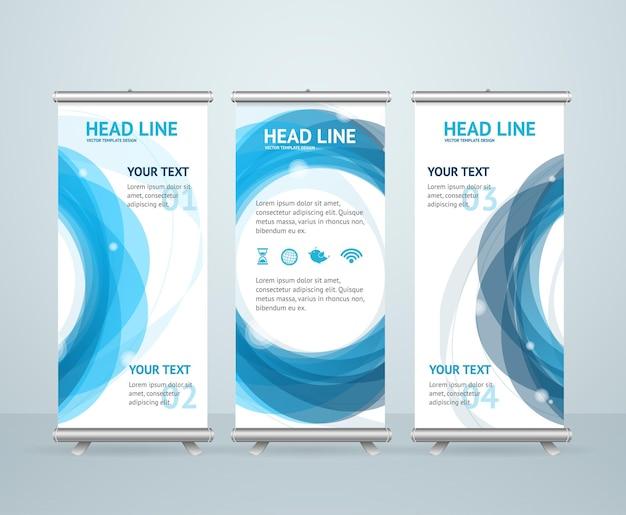 Roll up banner stand design con anello astratto.