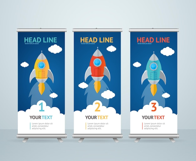 Roll up banner stand design con flying rocket in the sky.