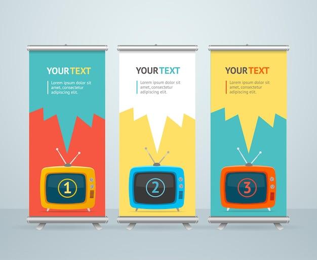 Roll up banner stand design con retro televisione. design piatto.